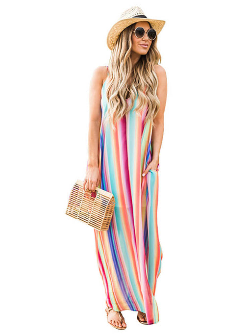 Colorful Striped Spaghetti Strap Drawstring Beach Dresses