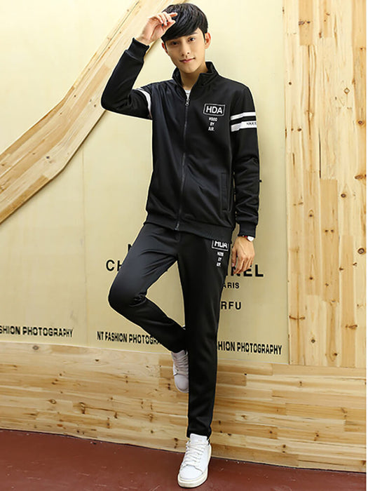 Mens 2 Piece Full Zip Athletic Sweat Suits