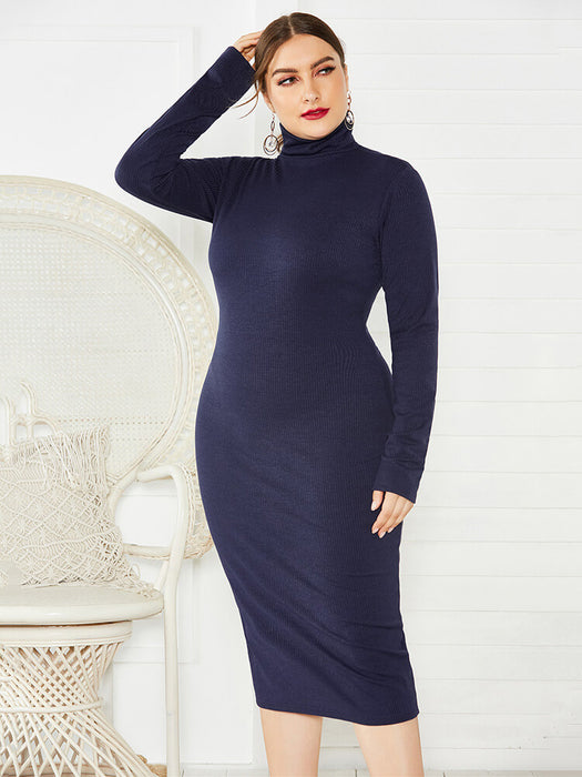 Plus Size Ribbed Pullover Knit Sweater Dresses
