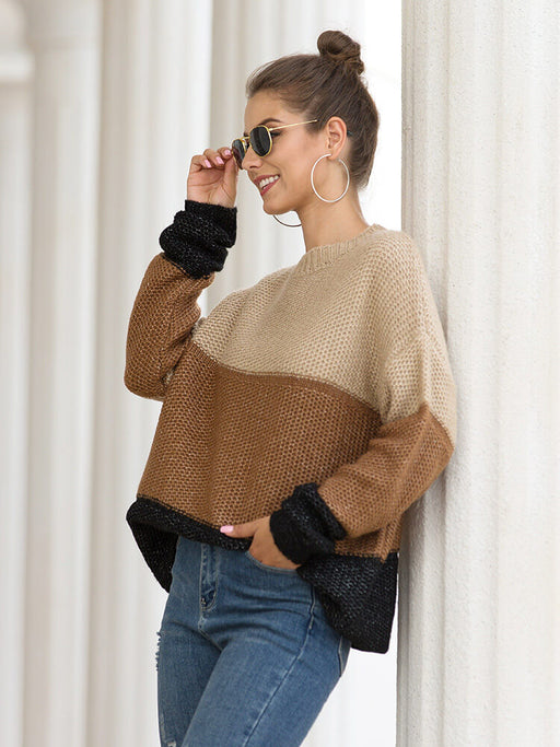 Colorblock Loose Pullover O-Neck Sweater