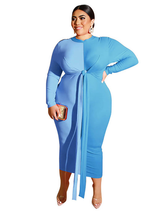 Plus Size Bodycon Wrap Tie Pencil Maxi Dresses