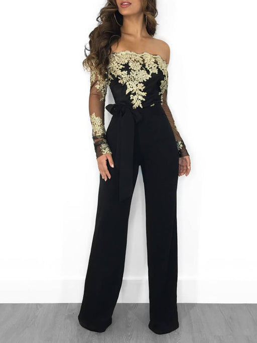 Sexy Off Shoulder Floral Lace Wide Leg Jumpsuits