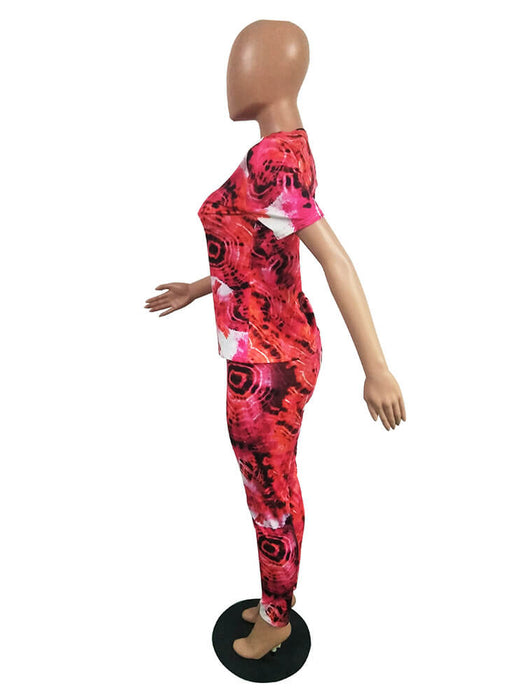 2 Piece Colorful Short Sleeve Top+Jogging Suits Tracksuits