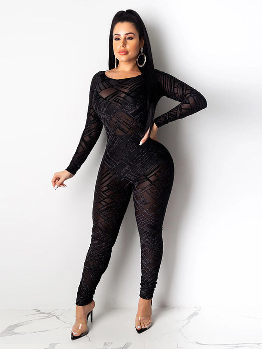 Sexy Mesh See Through Geometric Jumpsuits