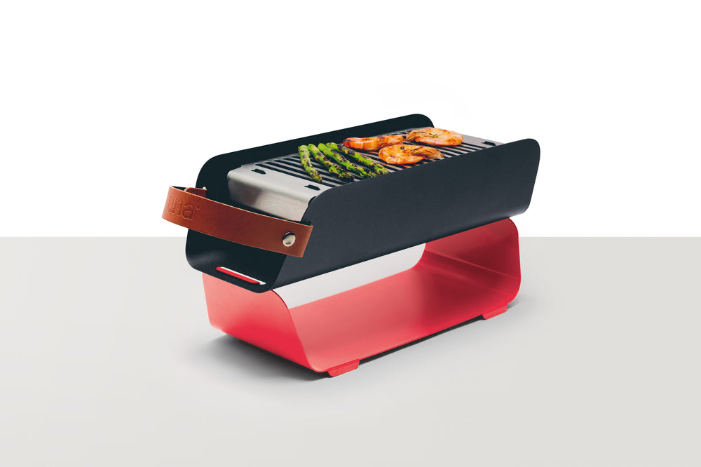 UNA Portable Table-top Charcoal Grill - Strawberry Red