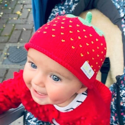 baby beanie hat - strawberry