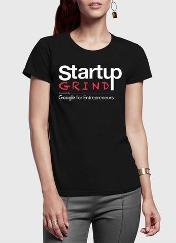 Startup Grind Black Half Sleeves Round Neck Women
