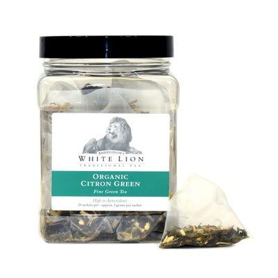 White Lion Organic Citron Green Tea Canister 25 Ct.