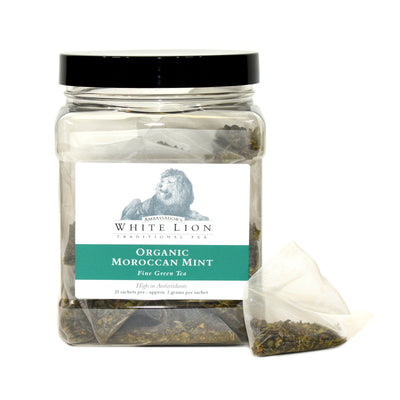 White Lion Organic Moroccan Mint Tea Canister 25 Ct.