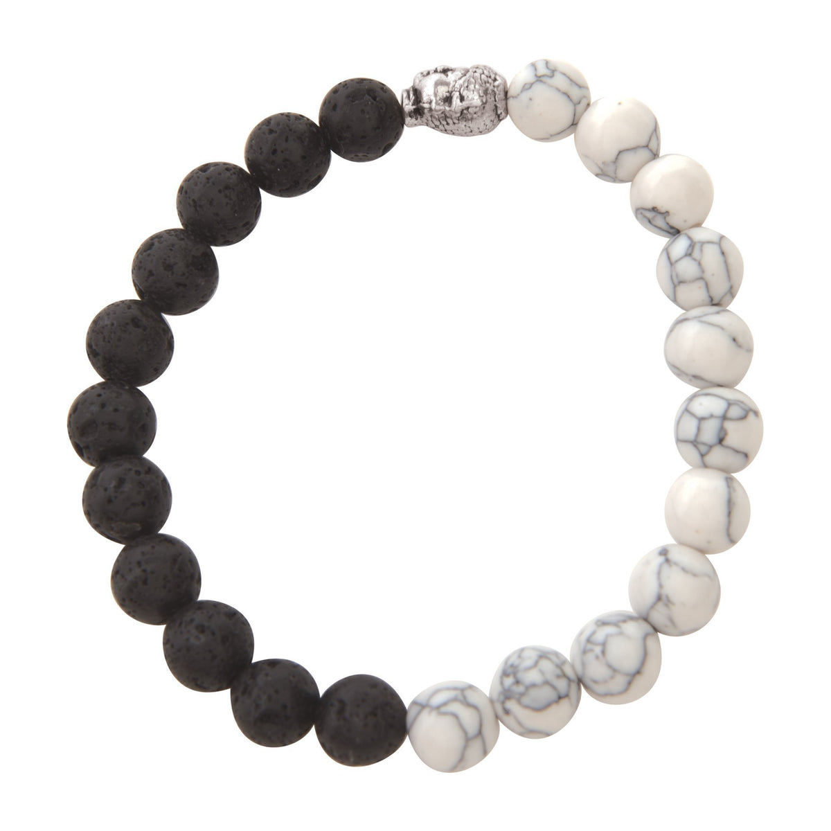 Jewelry Black & White Marble Lava Bracelet