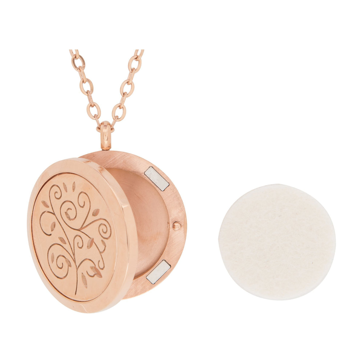 Serina & Company Stainless Steel Rose Gold Swirls Pendant