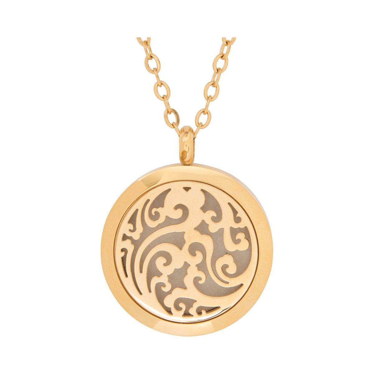 Jewelry Stainless Steel Golden Waves Pendant
