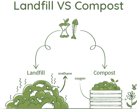 When organic waste decomposes in a ventilated compost, it does so in the presence of free oxygen. This process releases no methane gas (one of the most harmful GHG) at all, as methane-producing microbes are not active in the presence of oxygen