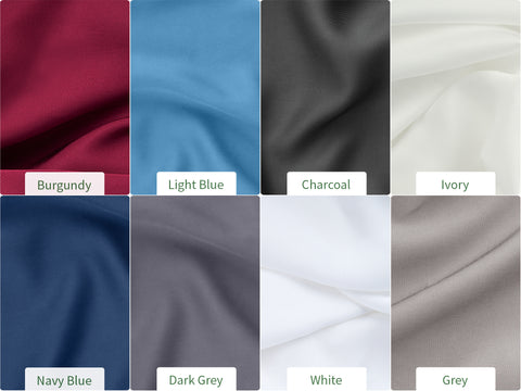 Bambaw Bamboo Bedding Colours variations and offer, Burgundy, Light Blue, Charcoal, Light Grey, Dark Grey, White, Ivory, Navy