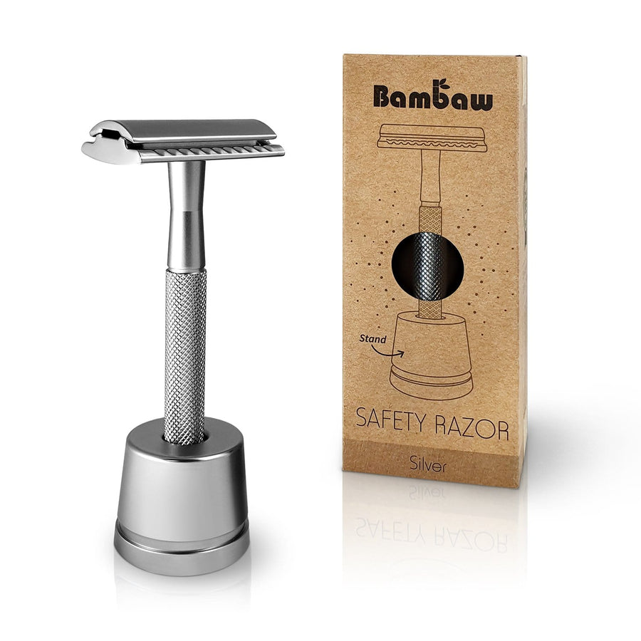 Metal Safety Razor with Safety Razor Stand in Silver