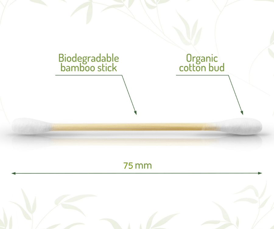 Bamboo cotton buds. With biodegradable stick and organic cotton.
