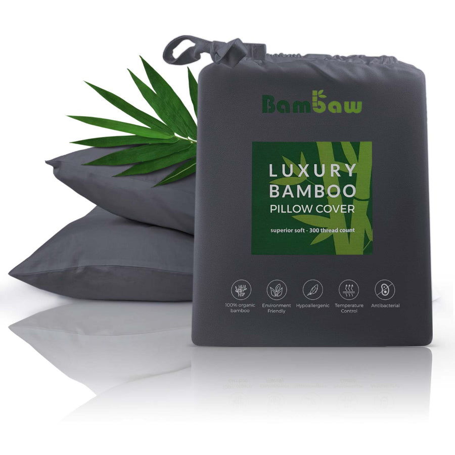 Bamboo pillowcase in charcoal. Antibacterial pillowcase.