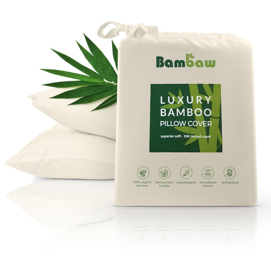 Bamboo pillowcase in ivory. Antibacterial pillowcase.