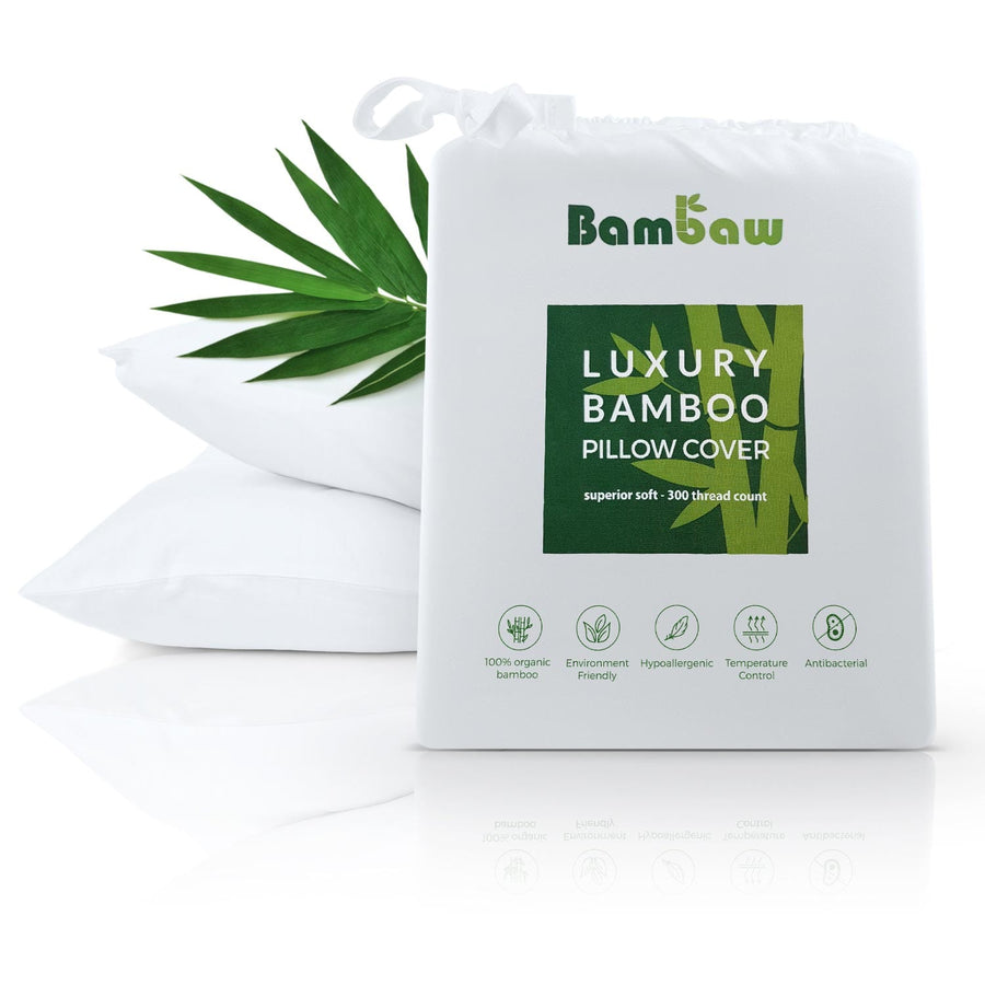 Bamboo pillowcase in white. Antibacterial pillowcase.