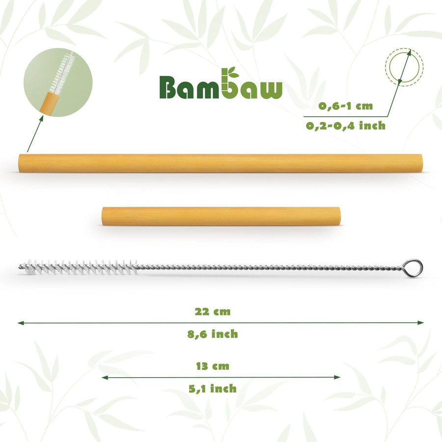 Compostable straws made of bamboo with a practical cleaning brush