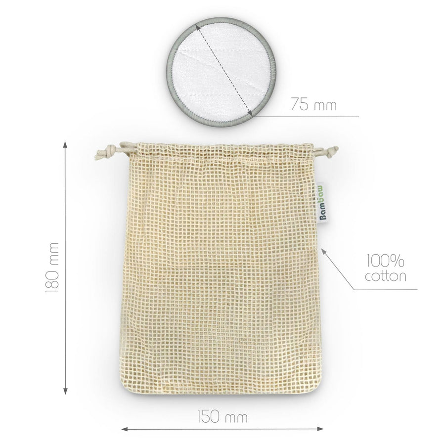 Reusable facial pads with 75 mm diameter and 180 mm x 150 mm cotton bag