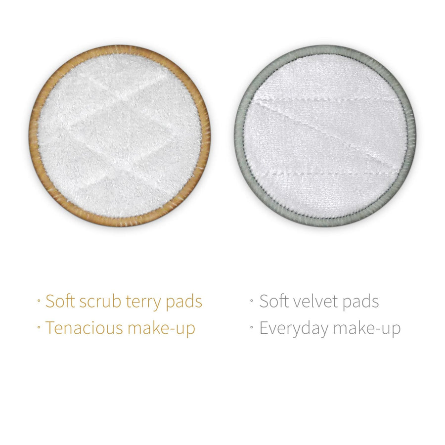 Hard and soft reusable makeup remover pads, soft scrub terry and soft velvet pads.