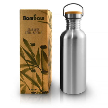Stainless steel water bottle. Great gym and office water bottle.