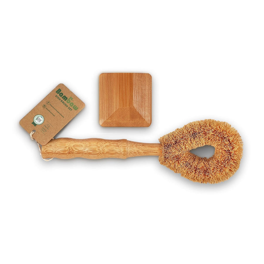 Zero Waste dish brush set consisting of a coconut scourer and a bamboo pan cleaner