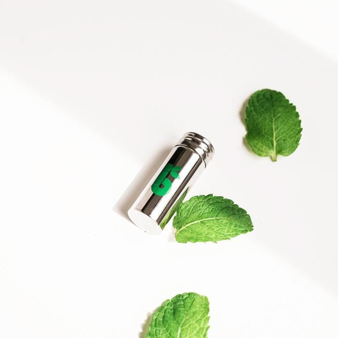 Eco friendly PLA dental floss with mint taste in a stainless steel dispenser