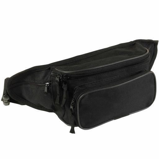 Polyester 5-pocket waist bag with adjustable waist strap and clip closure. Product size 35 X 14 X 12 CM