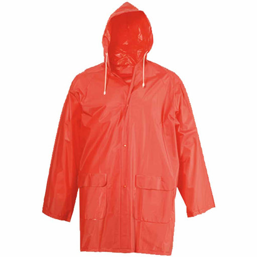Embossed PVC (200 g) raincoat, supplied in a pocket-sized bag. One size