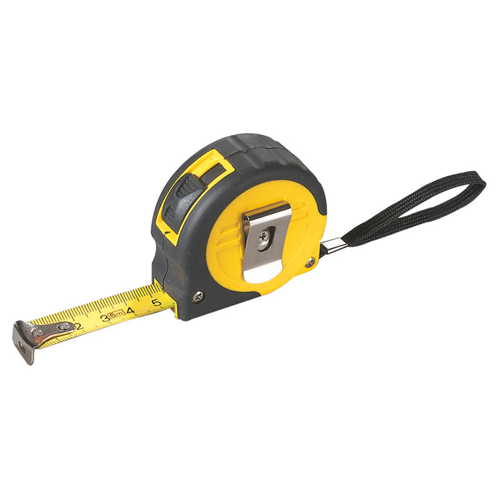 5m Tape measure in a plastic and rubber casing with lock, including a wrist wrap and belt clip. Size 7 x 6,2 x 3 cm