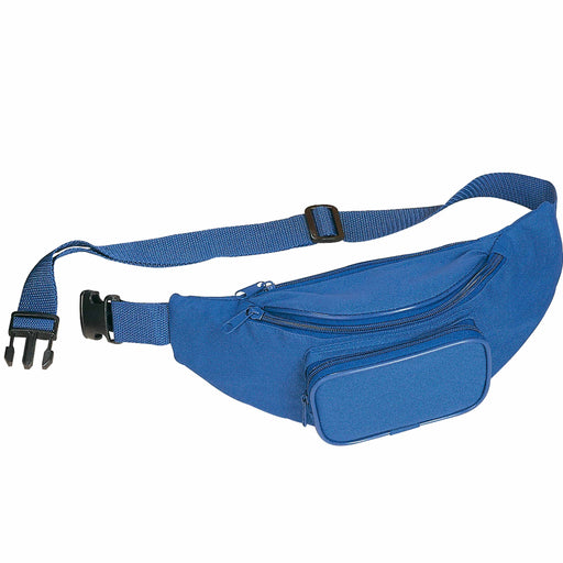 Polyester 3-pocket waist bag with adjustable waist strap and clip closure. Product size 30 X 12 X 8 CM
