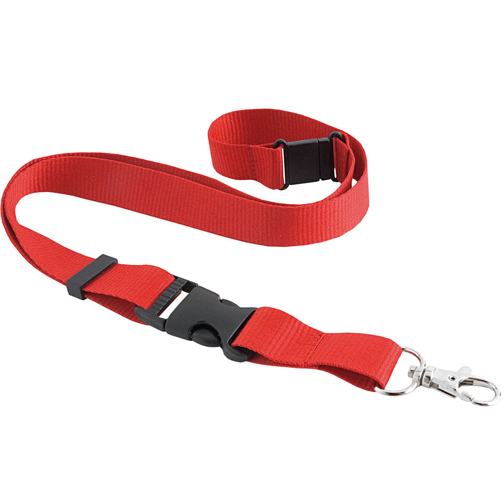 Polyester lanyard with safety release and swivel hook. Size 85 x 2 cm