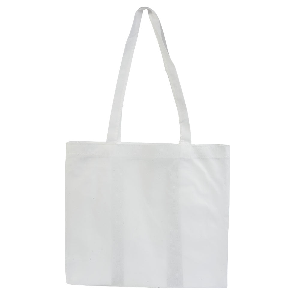 Stitched 80 g/m2 non-woven fabric shopping bag with gusset and long handles. Product size 38 X 34 X 10 CM