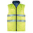 Padded polyester reversible waterproof vest, one side blue, one side high visibility fabric.
