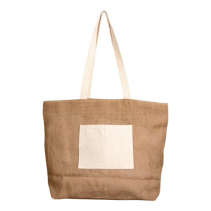 Jute shopping bag with bottom gusset, handles and front pocket (18 x 15 cm) in natural cotton, zip closure. Product size 48 X 35 CM