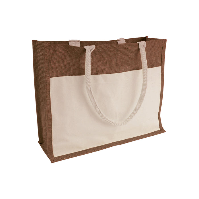 Jute shopping bag with waxed inner, gusset, handles and front pocket in natural cotton. Product size 45 X 35 X 12 CM