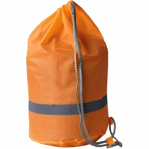 High visibility polyester bag with reflecting stripe. Size 39 x 44 x 23 cm