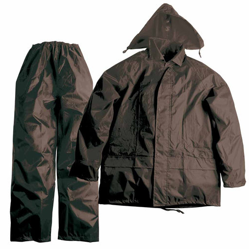 Water-resistant 170T polyester trousers/hooded jacket set with PVC coating. Sizes: S/M/L/XL/XXL