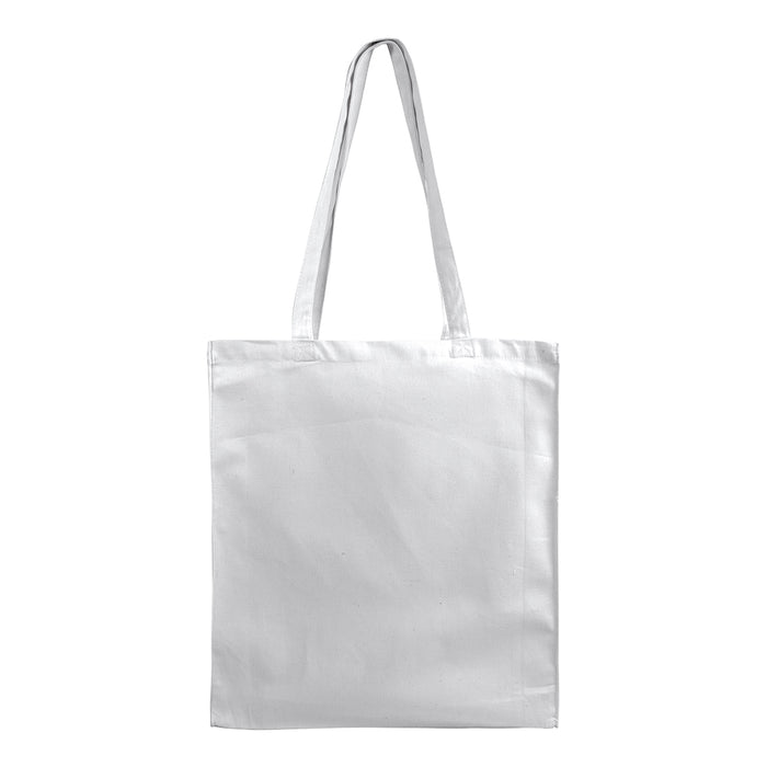 250 g/m2 cotton shopping bag, long handles and gusset, zip closure. Product size 38 X 42 X 8 CM