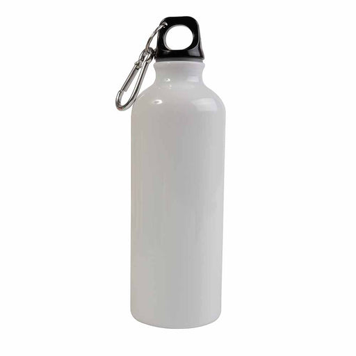 Aluminium water bottle (500 ml) with plastic lid and snap hook (22 cm tall, 6.5 cm diameter)