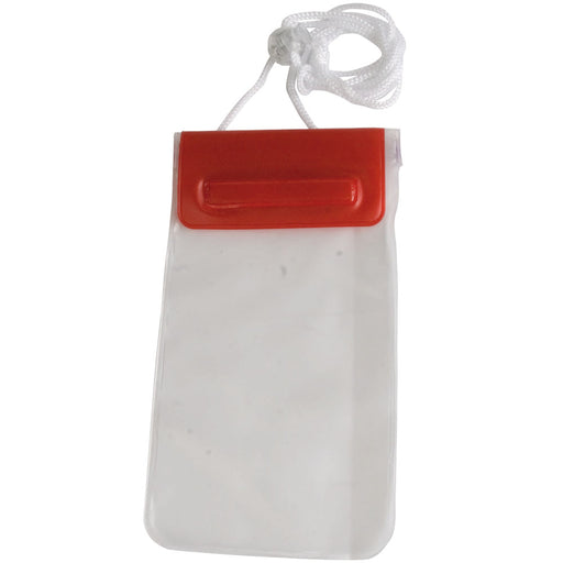 Waterproof mobile phone cover with neck cord, pvc. Size 23 x 10,5 cm
