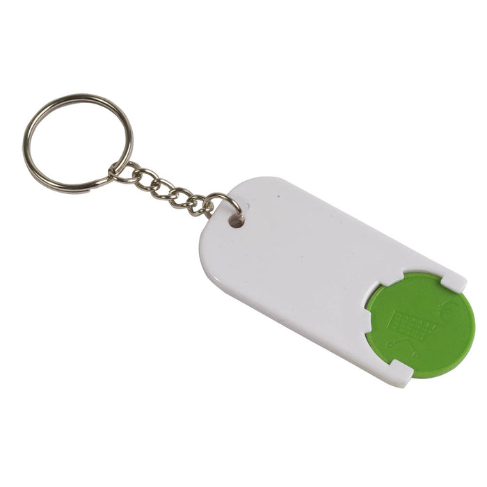 Plastic key and coin holder. Size 2,8 x 6 x 0,4 cm