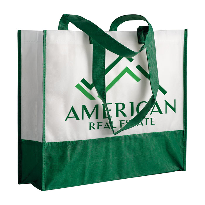 80 g/m2 non-woven fabric shopping bag with gusset and long handles. Product size 40 X 35 X 12 CM