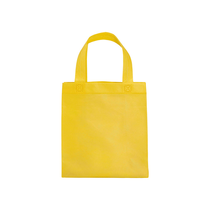 80 g/m2 non-woven fabric mini shopping bag with gusset and short handles. Product size 25 X 23 X 10 CM