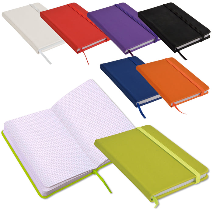 Note book with PU cover and elastic band for closing. Product size 15 X 21 CM