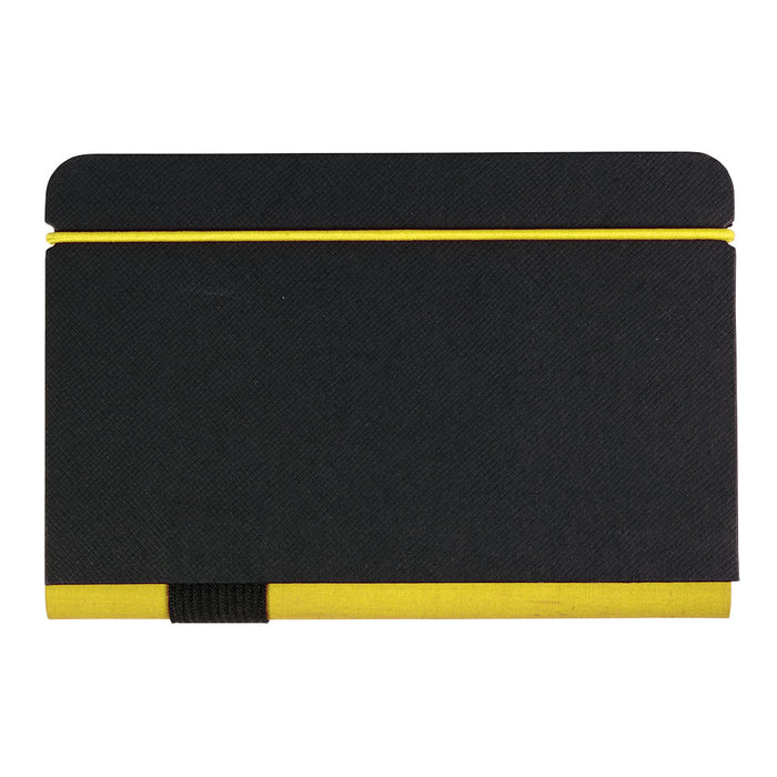 Notebook with 100 pages, colored elastic band and profiles. Internal pocket for business card