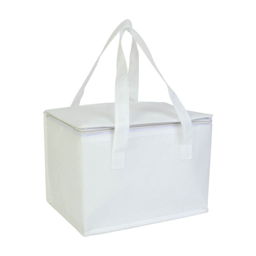 Laminated non-woven fabric cooler bag with silver interior. Product size 26 X 18 X 16 CM
