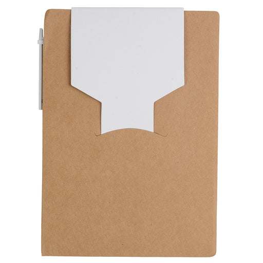 Memopad in recycled paper , with paper pen and adhesive sheets. Product size 10 X 14.3 X 1,2 CM